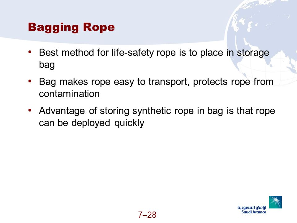7–28 Bagging Rope Best method for life-safety rope is to place in storage bag Bag makes rope easy to transport, protects rope from contamination Advan