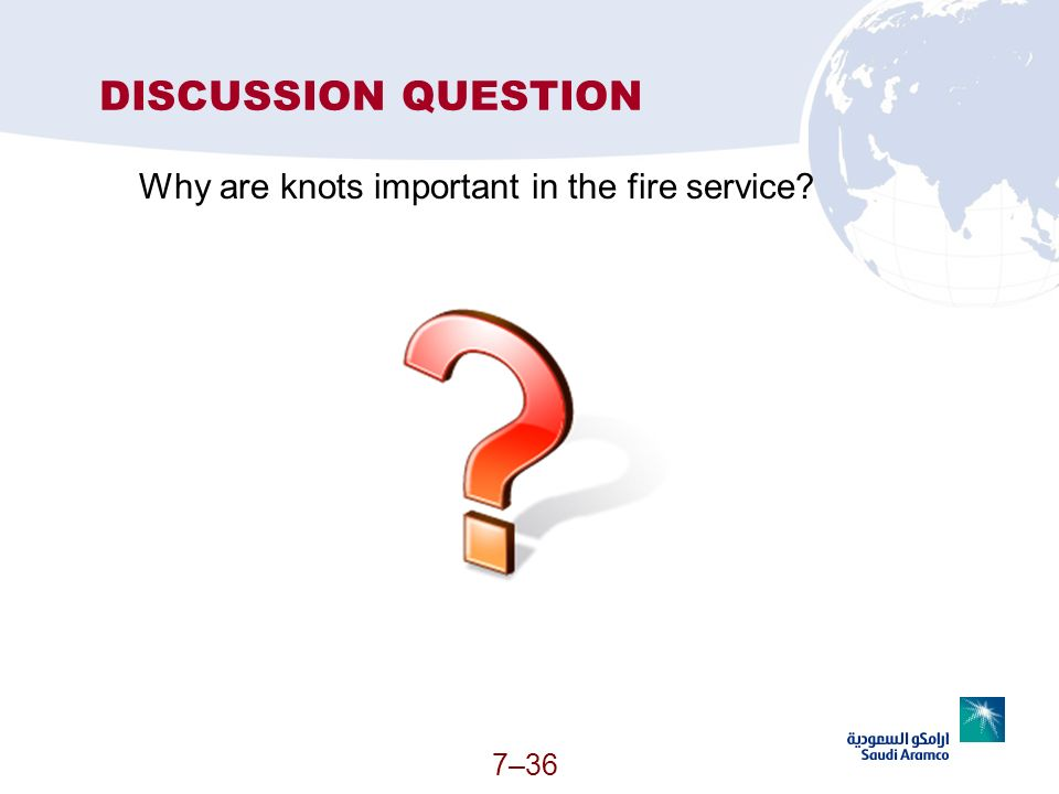 7–36 DISCUSSION QUESTION Why are knots important in the fire service?