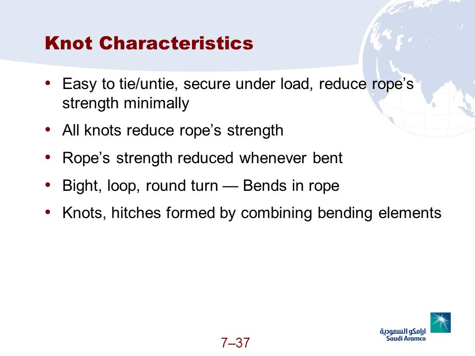 7–37 Knot Characteristics Easy to tie/untie, secure under load, reduce ropes strength minimally All knots reduce ropes strength Ropes strength reduced
