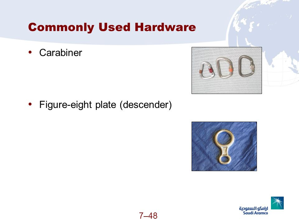 7–48 Commonly Used Hardware Carabiner Figure-eight plate (descender) (Continued)