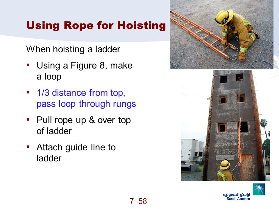 Using Rope for Hoisting When hoisting a ladder Using a Figure 8, make a loop 1/3 distance from top, pass loop through rungs Pull rope up & over top of