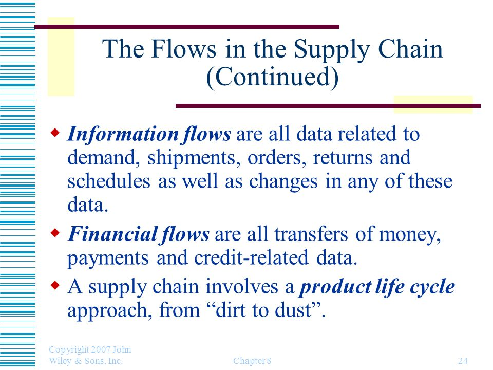 Copyright 2007 John Wiley & Sons, Inc. Chapter 824 The Flows in the Supply Chain (Continued) Information flows are all data related to demand, shipmen