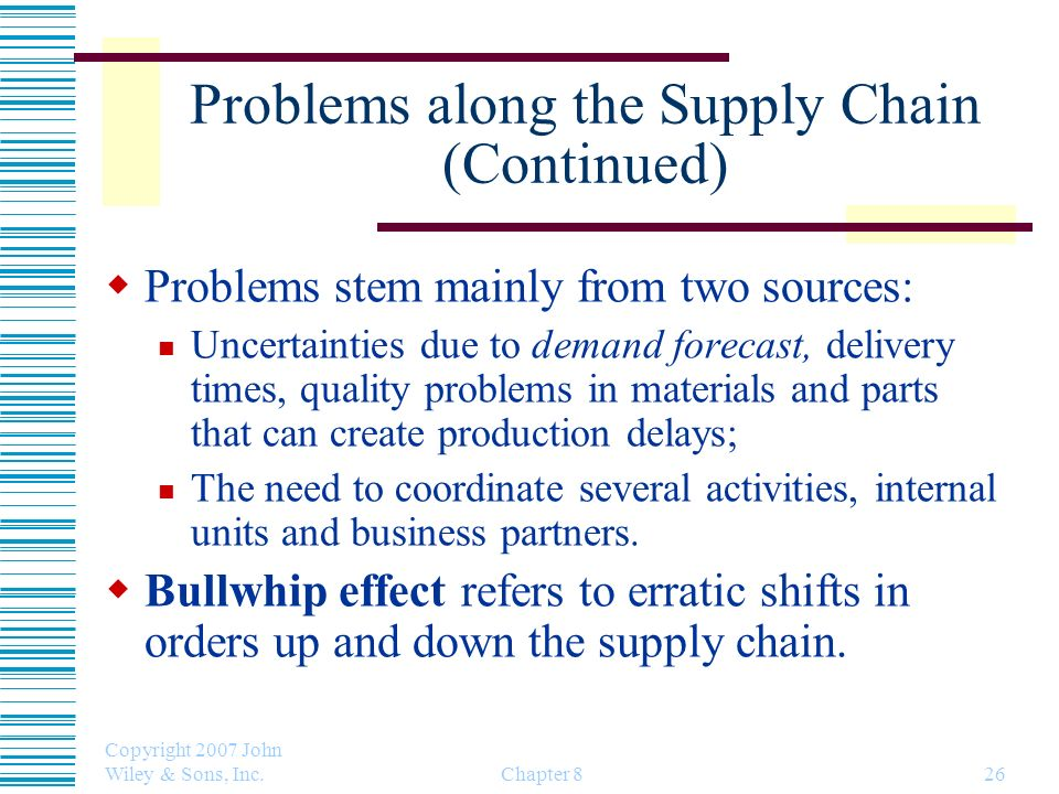 Copyright 2007 John Wiley & Sons, Inc. Chapter 826 Problems along the Supply Chain (Continued) Problems stem mainly from two sources: Uncertainties du