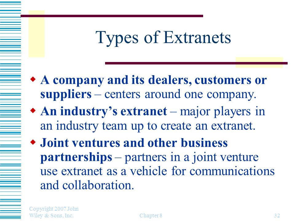 Copyright 2007 John Wiley & Sons, Inc. Chapter 832 Types of Extranets A company and its dealers, customers or suppliers – centers around one company.