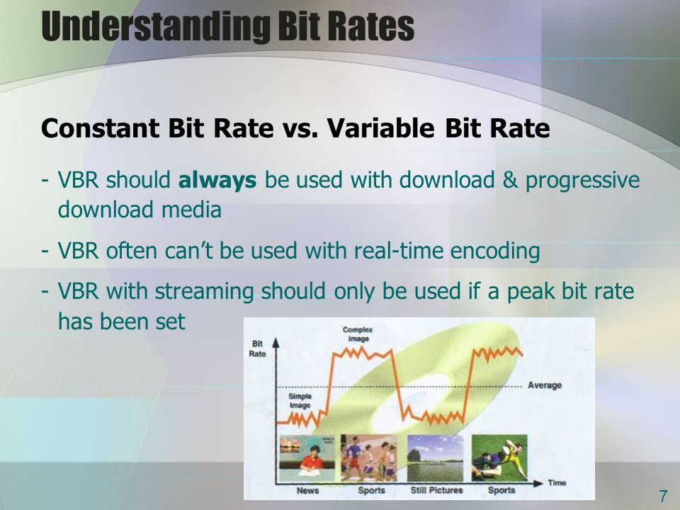 Understanding Bit Rates Constant Bit Rate vs. Variable Bit Rate -VBR should always be used with download & progressive download media -VBR often cant