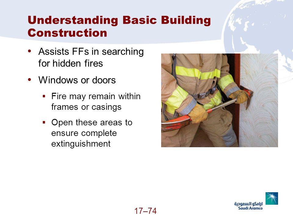 17–74 Understanding Basic Building Construction Assists FFs in searching for hidden fires Windows or doors Fire may remain within frames or casings Op