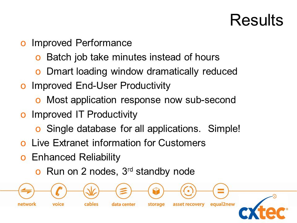 oImproved Performance oBatch job take minutes instead of hours oDmart loading window dramatically reduced oImproved End-User Productivity oMost application response now sub-second oImproved IT Productivity oSingle database for all applications.