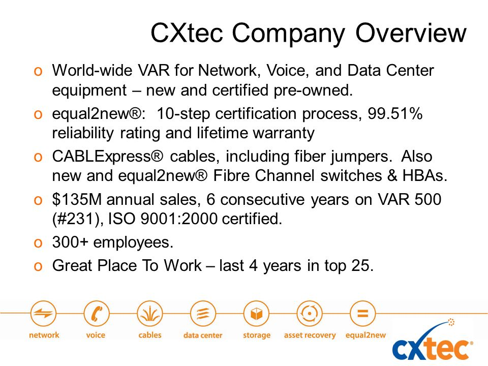 oWorld-wide VAR for Network, Voice, and Data Center equipment – new and certified pre-owned.