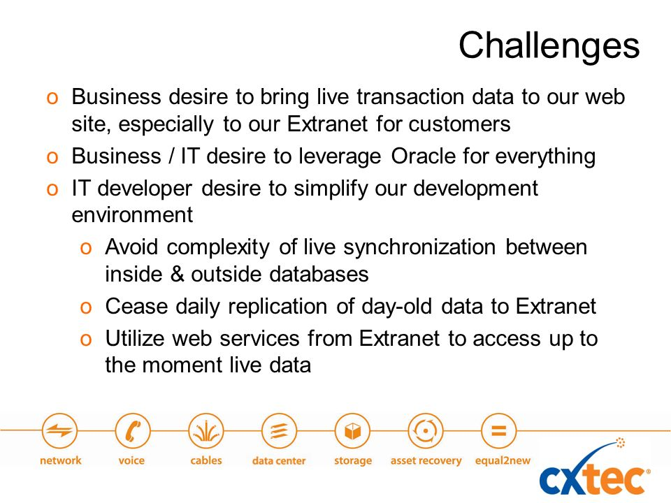 oBusiness desire to bring live transaction data to our web site, especially to our Extranet for customers oBusiness / IT desire to leverage Oracle for everything oIT developer desire to simplify our development environment oAvoid complexity of live synchronization between inside & outside databases oCease daily replication of day-old data to Extranet oUtilize web services from Extranet to access up to the moment live data Challenges