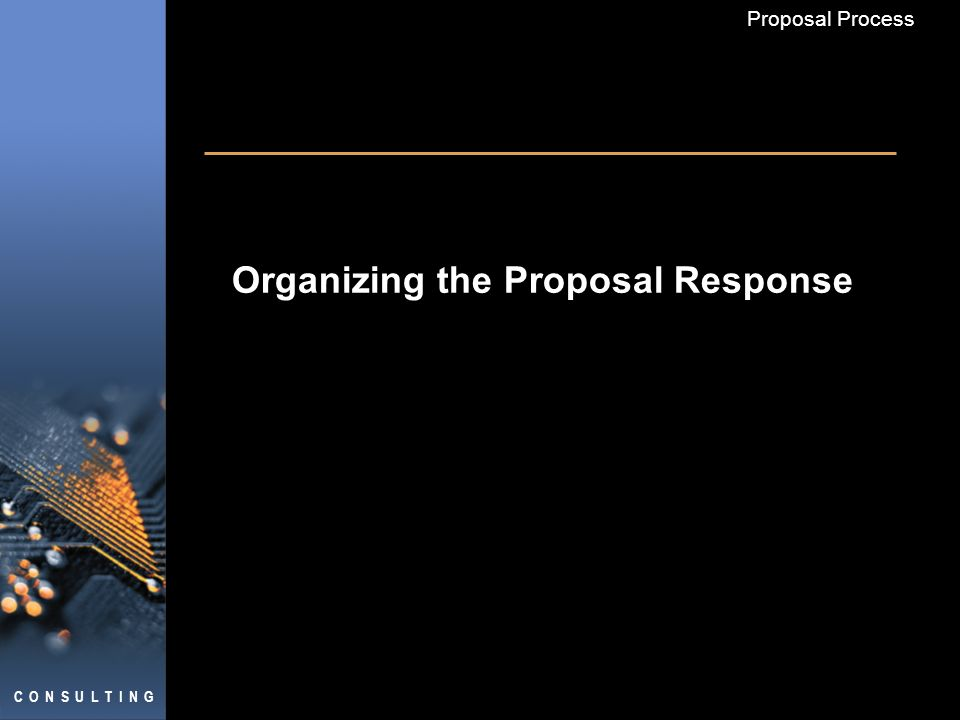 C O N S U L T I N G Proposal Process Organizing the Proposal Response