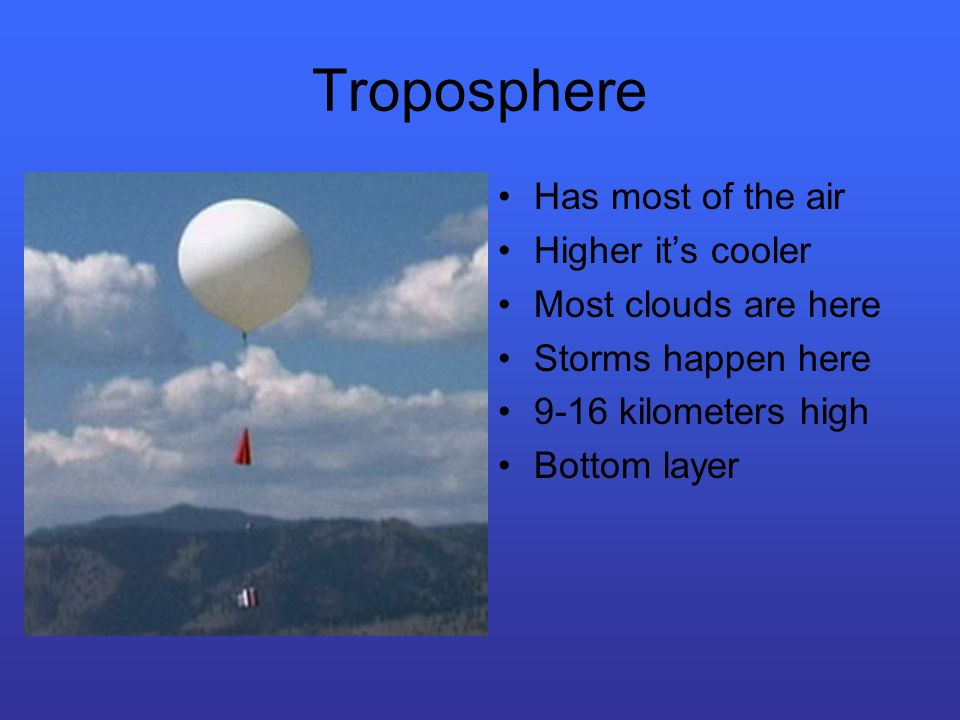Troposphere Has most of the air Higher its cooler Most clouds are here Storms happen here 9-16 kilometers high Bottom layer