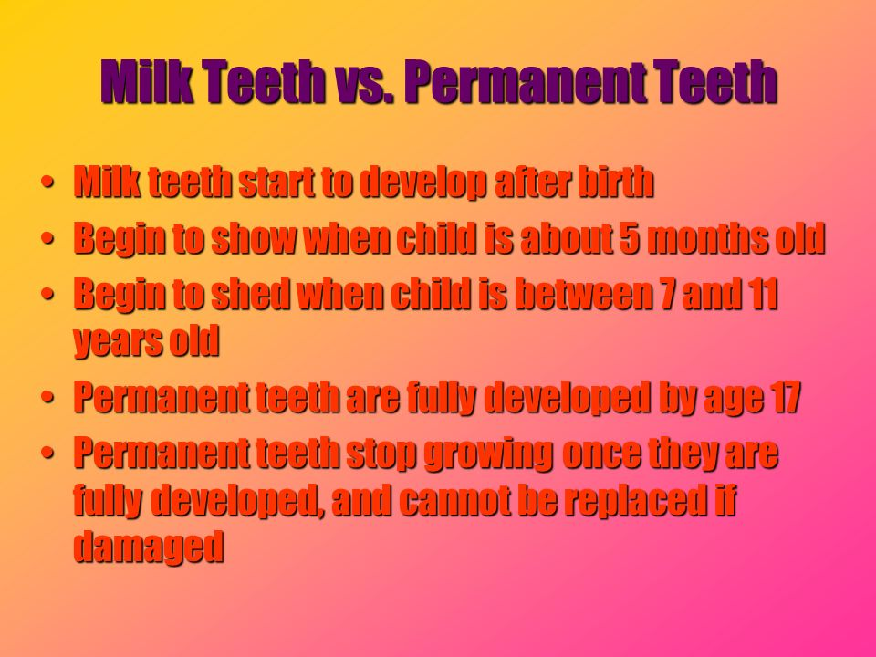 Milk Teeth vs. Permanent Teeth Milk teeth start to develop after birthMilk teeth start to develop after birth Begin to show when child is about 5 mont