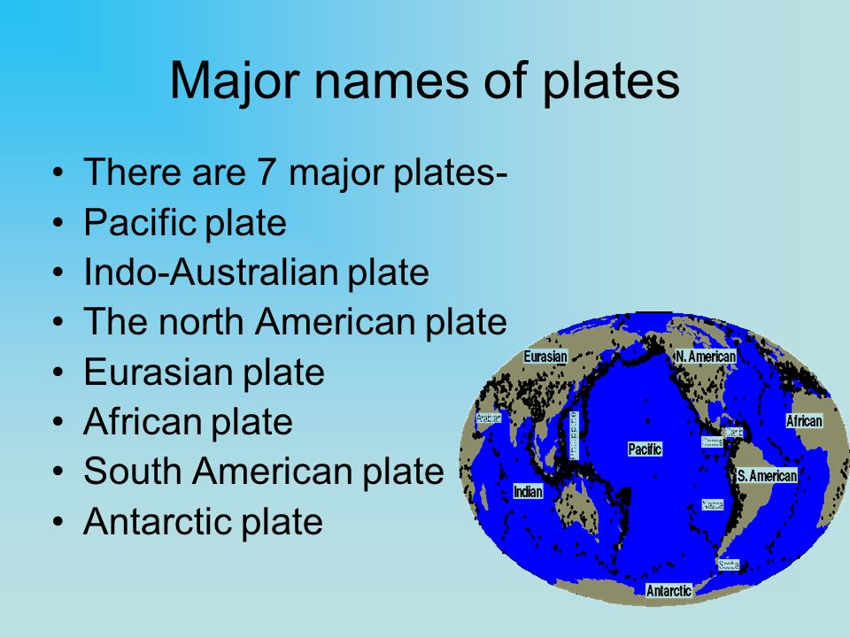 Major names of plates There are 7 major plates- Pacific plate Indo-Australian plate The north American plate Eurasian plate African plate South Americ
