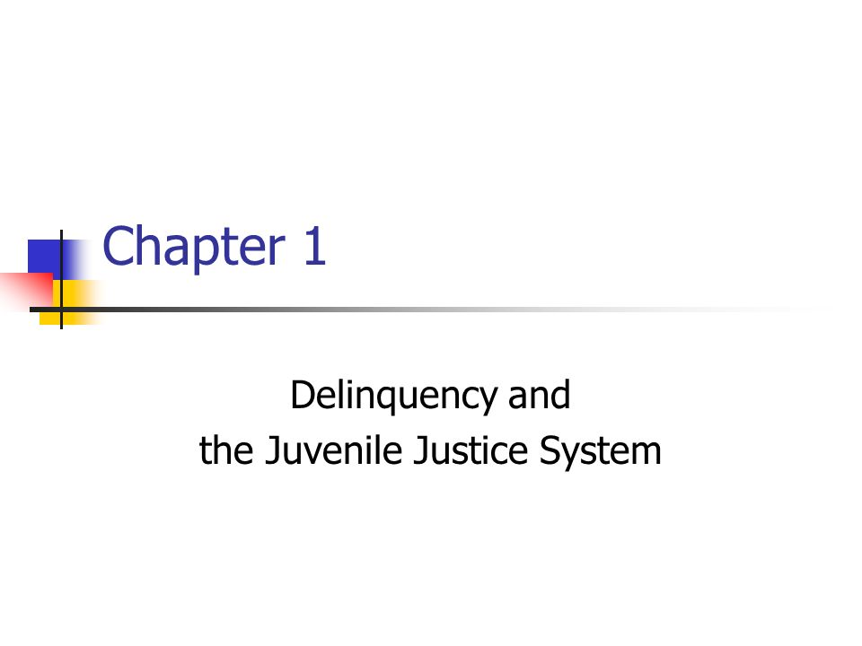 Chapter 1 Delinquency and the Juvenile Justice System