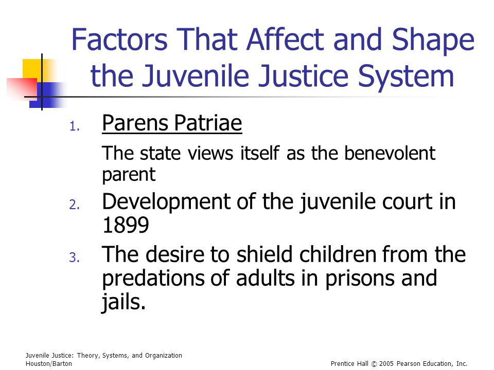 Juvenile Justice: Theory, Systems, and Organization Houston/BartonPrentice Hall © 2005 Pearson Education, Inc. Factors That Affect and Shape the Juven