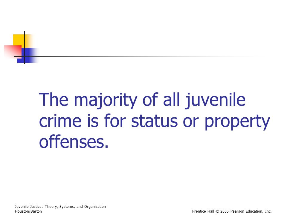 Juvenile Justice: Theory, Systems, and Organization Houston/BartonPrentice Hall © 2005 Pearson Education, Inc. The majority of all juvenile crime is f