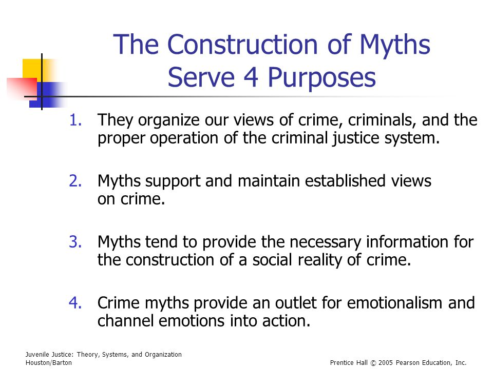 Juvenile Justice: Theory, Systems, and Organization Houston/BartonPrentice Hall © 2005 Pearson Education, Inc. The Construction of Myths Serve 4 Purpo