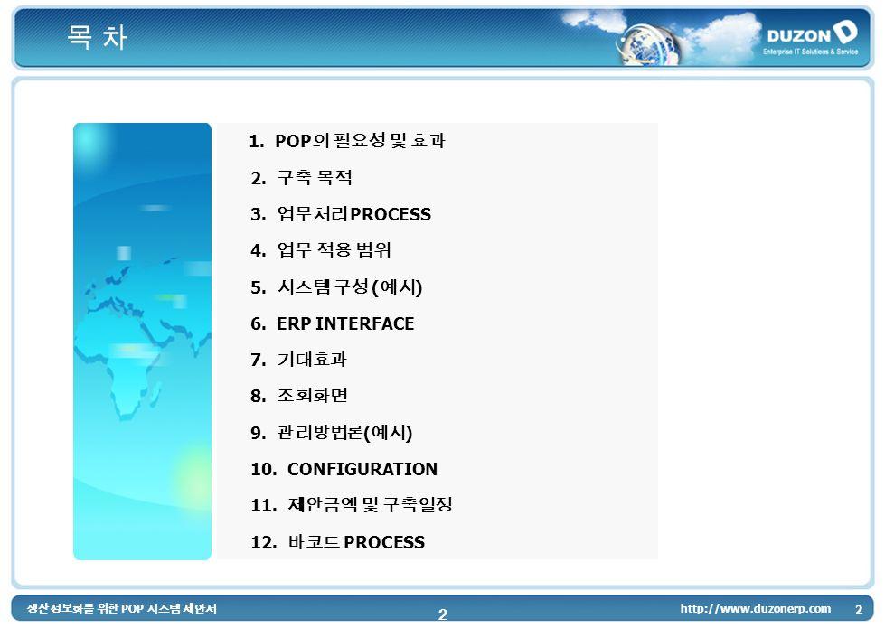 2 http://www.duzonerp.com 2 1. POP 2. 3. PROCESS 4. 5. ( ) 6. ERP INTERFACE 7. 8. 9. ( ) 10. CONFIGURATION 11. 12. PROCESS