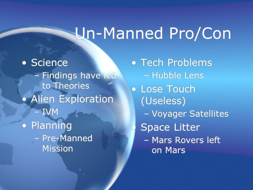 Un-Manned Pro/Con Science –Findings have led to Theories Alien Exploration –IVM Planning –Pre-Manned Mission Science –Findings have led to Theories Alien Exploration –IVM Planning –Pre-Manned Mission Tech Problems –Hubble Lens Lose Touch (Useless) –Voyager Satellites Space Litter –Mars Rovers left on Mars Tech Problems –Hubble Lens Lose Touch (Useless) –Voyager Satellites Space Litter –Mars Rovers left on Mars