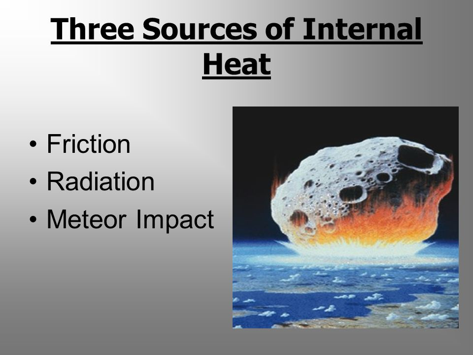 Three Sources of Internal Heat Friction Radiation Meteor Impact