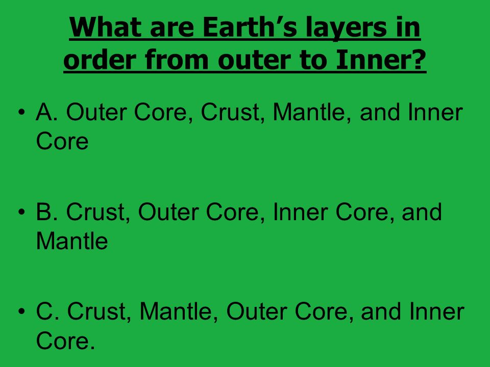 What are Earths layers in order from outer to Inner.