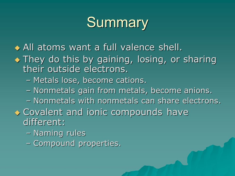 Summary All atoms want a full valence shell. All atoms want a full valence shell.