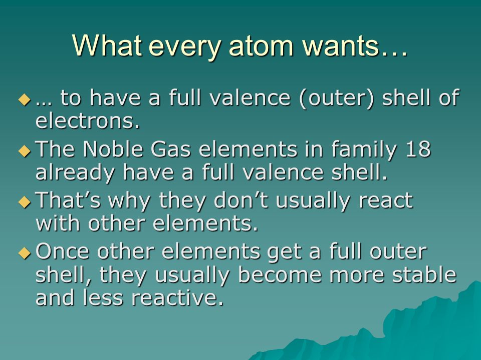 What every atom wants… … to have a full valence (outer) shell of electrons.