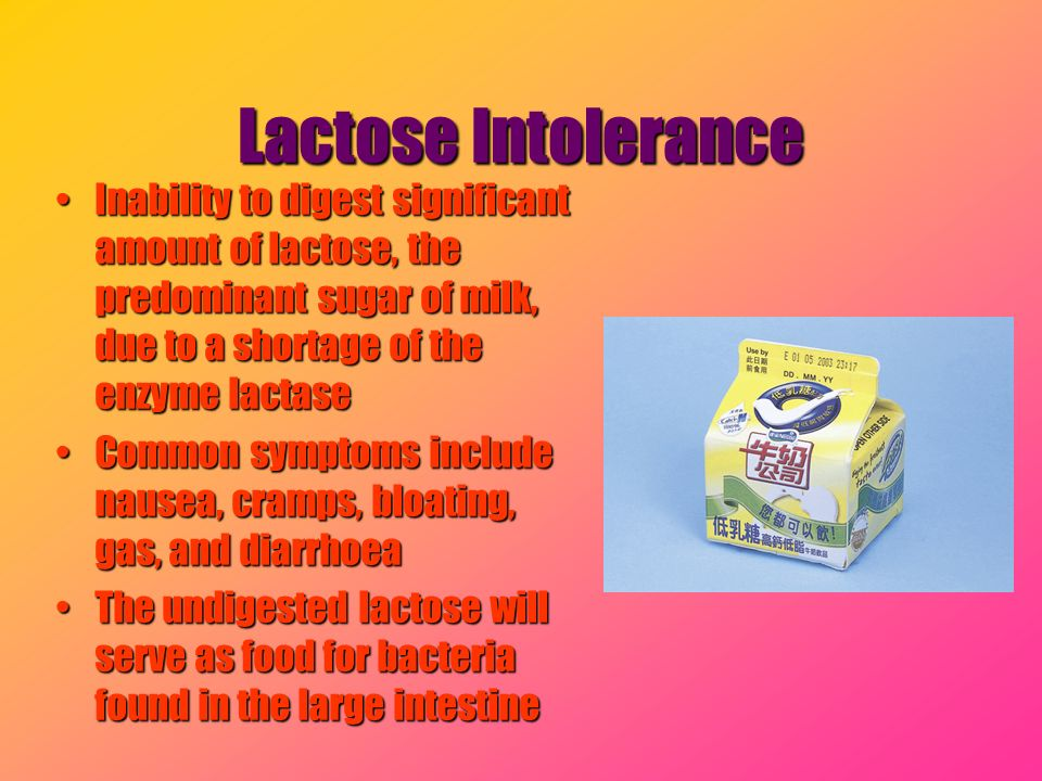 Lactose Intolerance Inability to digest significant amount of lactose, the predominant sugar of milk, due to a shortage of the enzyme lactaseInability