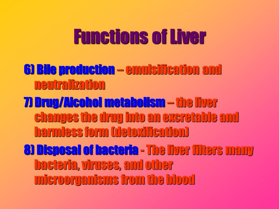 Functions of Liver 6) Bile production – emulsification and neutralization 7) Drug/Alcohol metabolism – the liver changes the drug into an excretable a