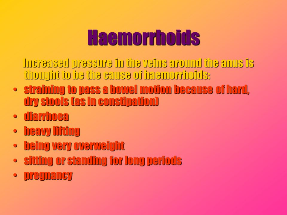 Haemorrhoids Increased pressure in the veins around the anus is thought to be the cause of haemorrhoids: Increased pressure in the veins around the an
