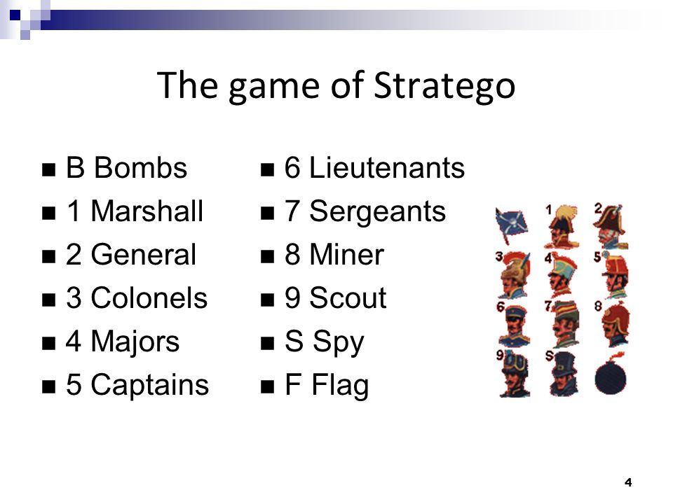 5 The game of Stratego Win Flag capture Unmovable pieces Draw Unmovable pieces Maximum moves