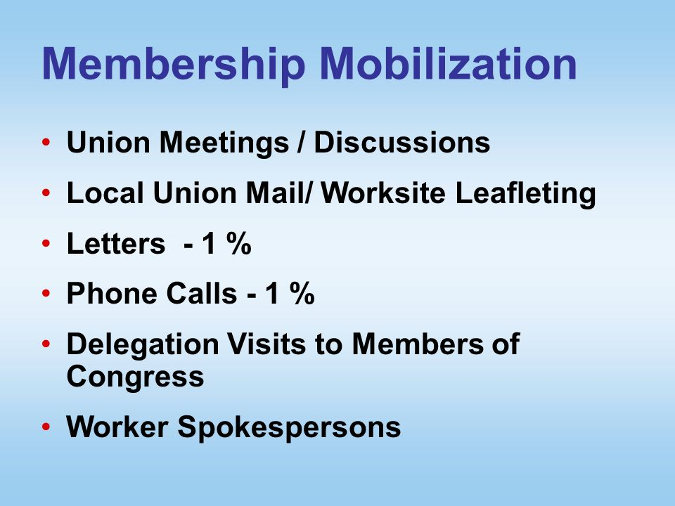 Membership Mobilization Union Meetings / Discussions Local Union Mail/ Worksite Leafleting Letters - 1 % Phone Calls - 1 % Delegation Visits to Members of Congress Worker Spokespersons
