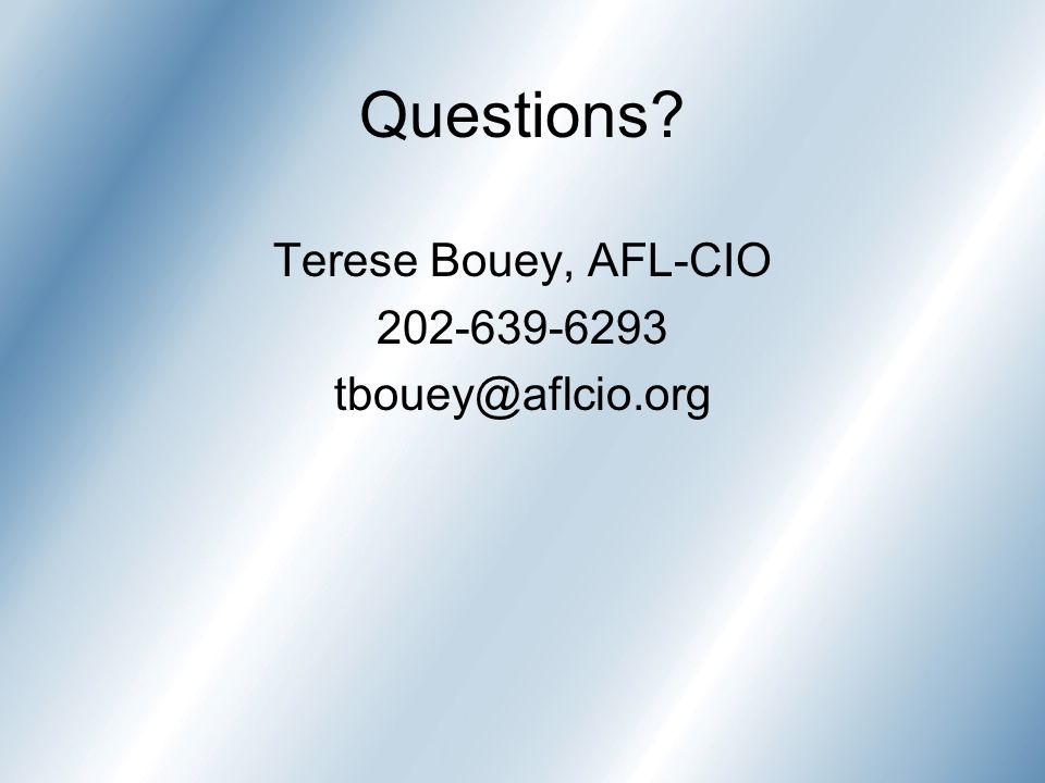 Questions? Terese Bouey, AFL-CIO 202-639-6293 tbouey@aflcio.org