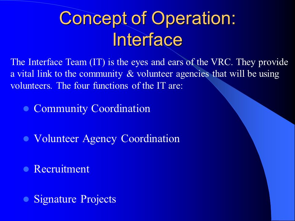 Concept of Operation: Interface Community Coordination Volunteer Agency Coordination Recruitment Signature Projects The Interface Team (IT) is the eyes and ears of the VRC.