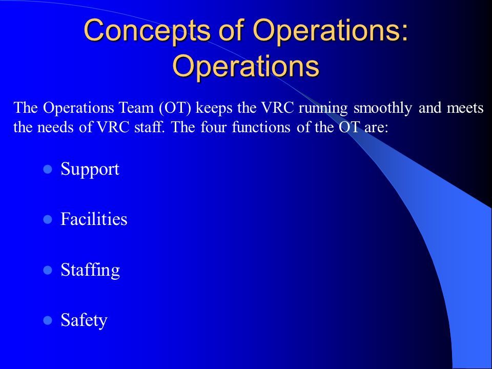 Concepts of Operations: Operations Support Facilities Staffing Safety The Operations Team (OT) keeps the VRC running smoothly and meets the needs of VRC staff.