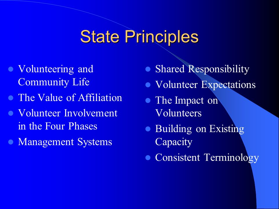 State Principles Volunteering and Community Life The Value of Affiliation Volunteer Involvement in the Four Phases Management Systems Shared Responsibility Volunteer Expectations The Impact on Volunteers Building on Existing Capacity Consistent Terminology