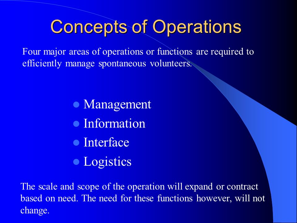 Concepts of Operations Management Information Interface Logistics The scale and scope of the operation will expand or contract based on need.