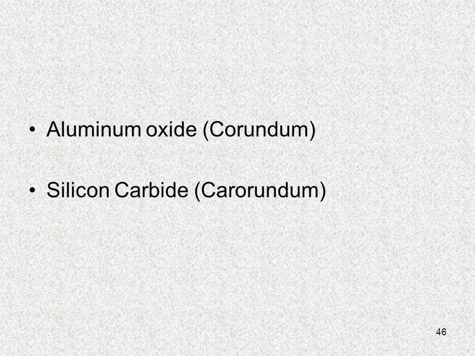 46 Aluminum oxide (Corundum) Silicon Carbide (Carorundum)