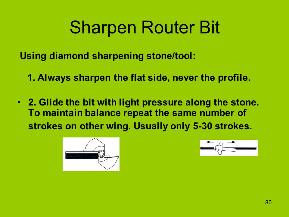 80 Sharpen Router Bit 2. Glide the bit with light pressure along the stone. To maintain balance repeat the same number of strokes on other wing. Usual