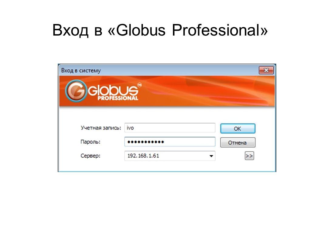 Вход в «Globus Professional»