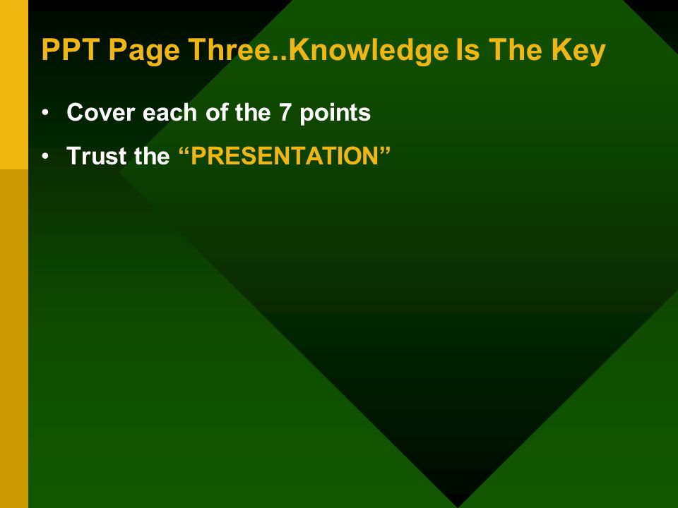 PPT Page Three..Knowledge Is The Key Cover each of the 7 points Trust the PRESENTATION