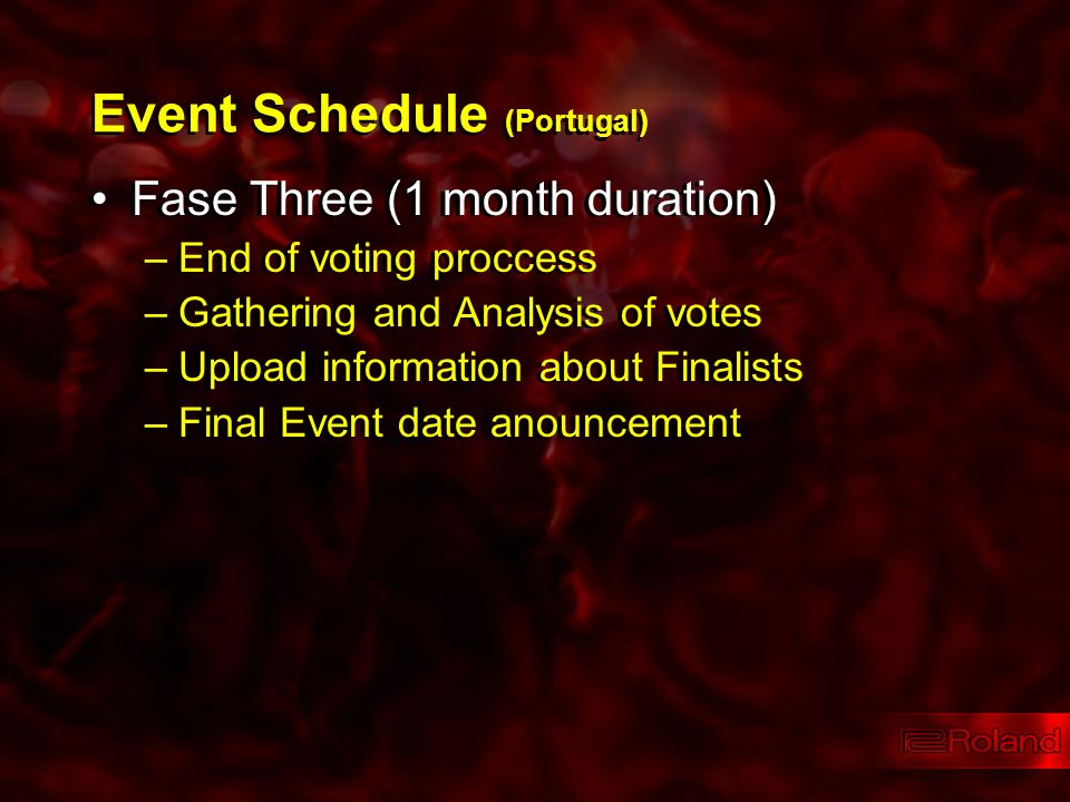 Event Schedule (Portugal) Fase Three (1 month duration) –End of voting proccess –Gathering and Analysis of votes –Upload information about Finalists –