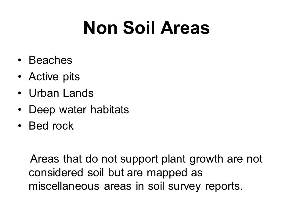 Non Soil Areas Beaches Active pits Urban Lands Deep water habitats Bed rock Areas that do not support plant growth are not considered soil but are map