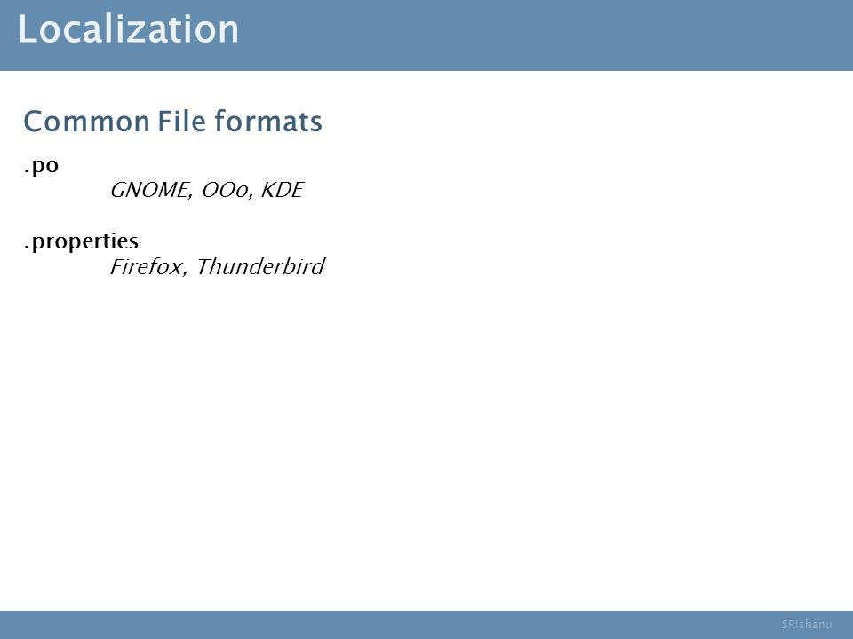 SRIshanu Localization.po GNOME, OOo, KDE.properties Firefox, Thunderbird Common File formats