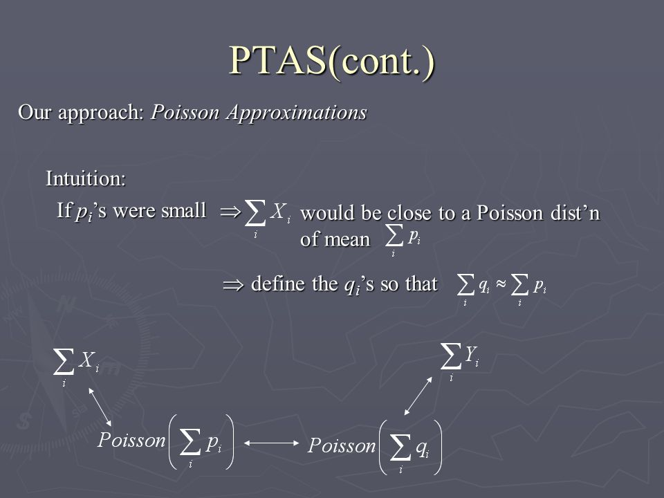 PTAS(cont.) Our approach: Poisson Approximations Intuition: If p i s were small If p i s were small would be close to a Poisson distn of mean define the q i s so that define the q i s so that