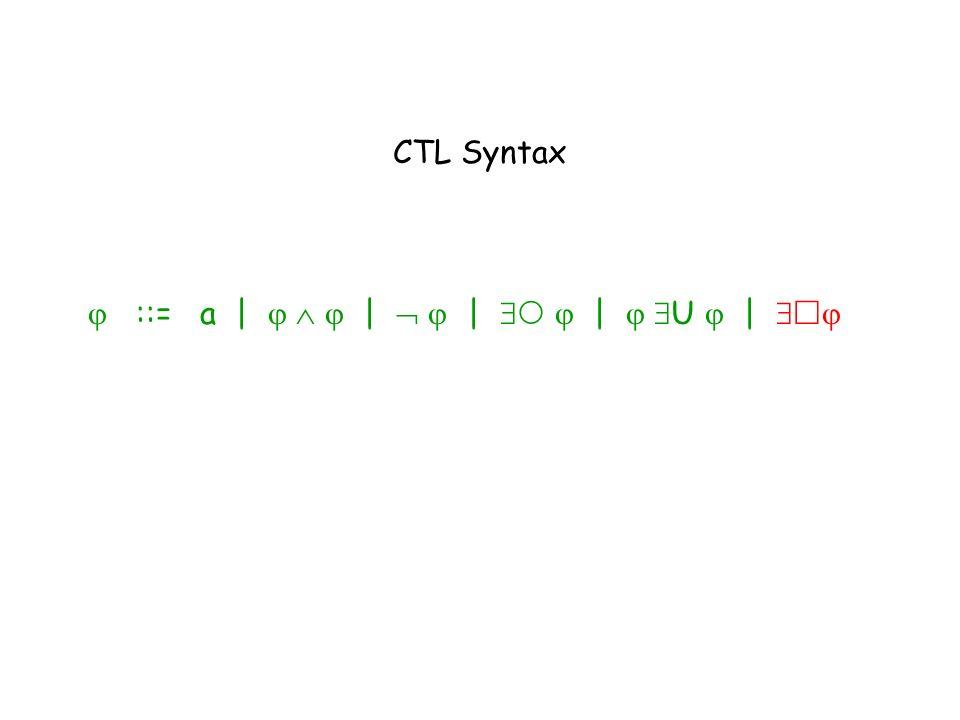 CTL Syntax ::= a | | | | U |
