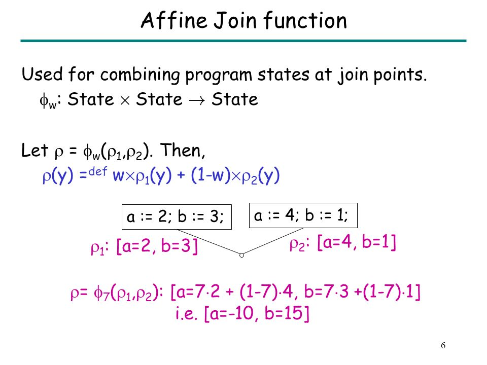 6 Affine Join function Used for combining program states at join points.