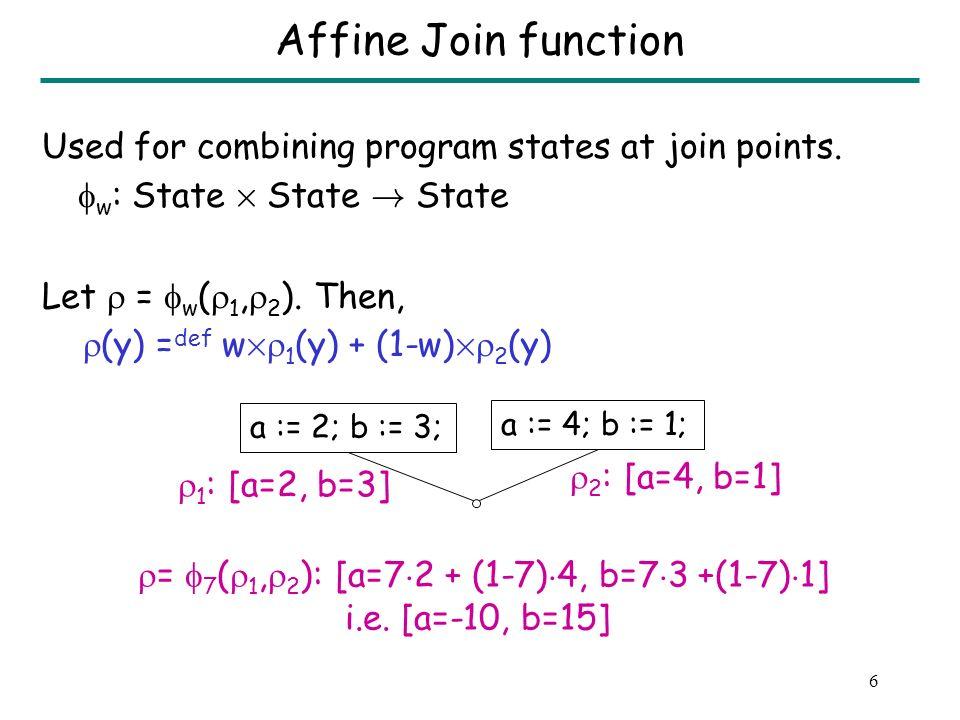16 Generating 2 random summaries for Q u = [47 ¢ 2-91, 40 ¢ 2-77] =[3,3] v = [19 ¢ 1-35, 7-2 ¢ 1] =[-16,5] w = [33 ¢ 1-63, 5 ¢ 1-7] =[-30,-2] Assert (u = 3); Assert (v = w); u := P(2); v := P(1); w := P(1); Procedure Q x = 7 (5i-7,7-2i) = 47i-91 x = 6 (5i-7,7-2i) = 40i-77 x = 2 (5i-7,7-2i) = 19i-35 x = 0 (5i-7,7-2i) = 7-2i x = 5 (5i-7,7-2i) = 33i-63 x = 1 (5i-7,7-2i) = 5i-7