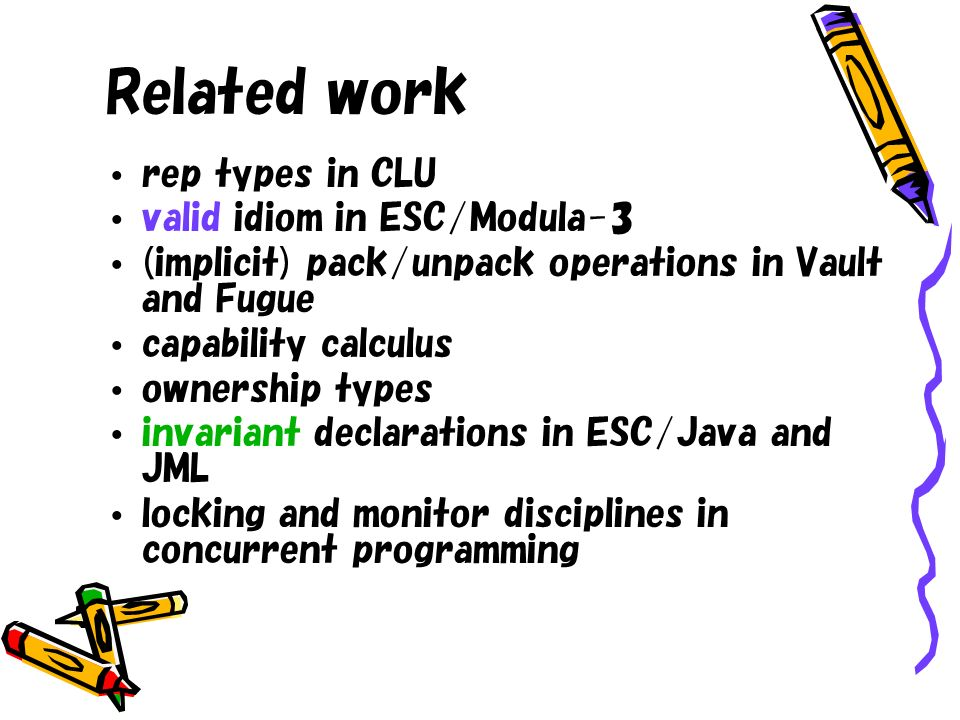 Related work rep types in CLU valid idiom in ESC/Modula-3 (implicit) pack/unpack operations in Vault and Fugue capability calculus ownership types invariant declarations in ESC/Java and JML locking and monitor disciplines in concurrent programming