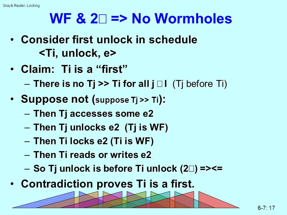 Gray& Reuter: Locking 6-7: 17 WF & 2 => No Wormholes Consider first unlock in schedule Consider first unlock in schedule Claim: Ti is a firstClaim: Ti